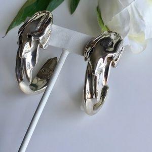 VTG Modernist Brutalist Sterling Clip-On Earrings